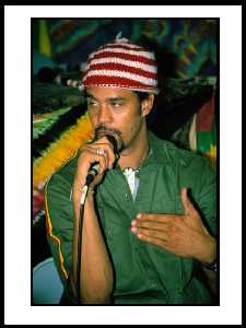 Michael Franti at Reggae on the River 2004; photo by Adebo Thomas
