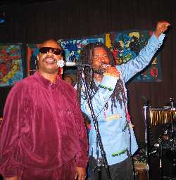 Stevie Wonder & Rocky Dawuni; photo by Cary Sullivan